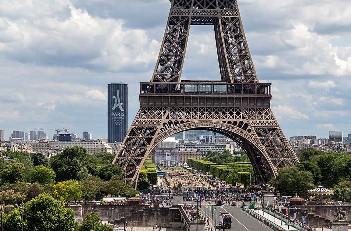 Pont d'Iéna, Eiffelturm (Tour Eiffel), Marsfeld (Champ de Mars), École Militaire (Militärschule) Paris