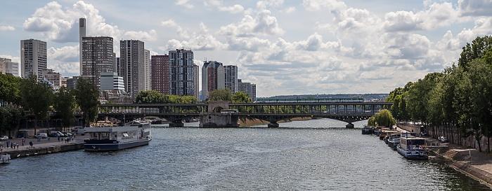 Blick von der Pont d'Iéna: Seine, Pont de Bir-Hakeim Paris