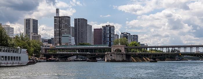 Paris Seine, Pont de Bir-Hakeim mit der Île aux Cygnes