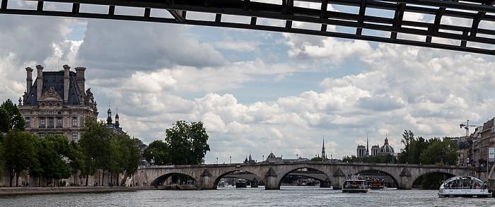 Paris Seine, Passerelle Léopold-Sédar-Senghor (oben), Pont Royal Institut de France Musée du Louvre Notre-Dame de Paris Quai des Tuileries