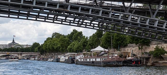 Paris Seine, Passerelle Léopold-Sédar-Senghor (oben), Quai des Tuileries Grand Palais Pont de la Concorde