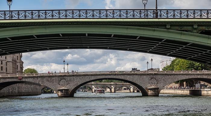Seine, Pont Notre-Dame (oben), Pont au Change, Pont Neuf Paris