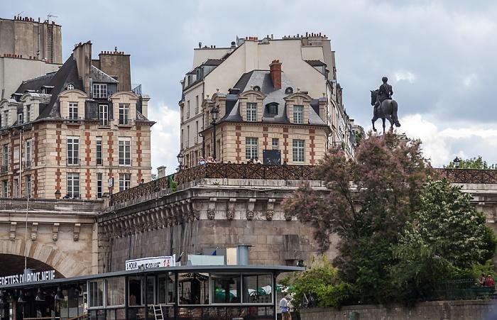 Île de la Cité mit dem Square du Vert-Galant, Pont Neuf und Reiterstandbild von Heinrich IV. Paris