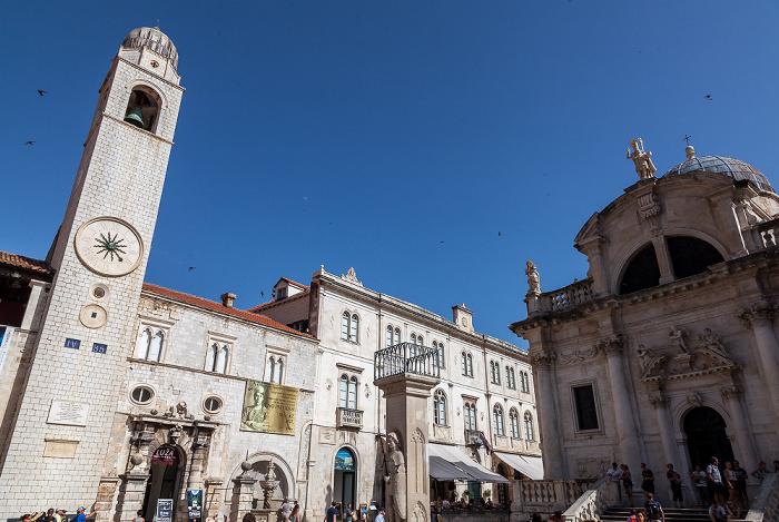 Altstadt (Grad): Luža-Platz mit Glockenturm (Gradski zvonik), Roland-Statue (Orlandov stup) und St. Blasius (Crkva sv. Vlaha) Dubrovnik