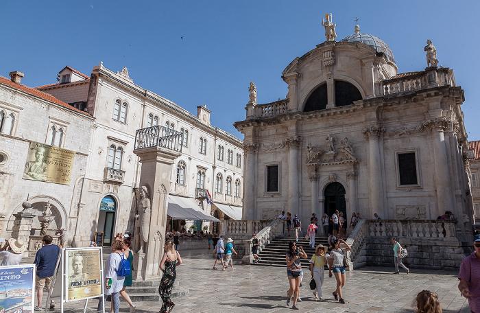 Altstadt (Grad): Luža-Platz mit Roland-Statue (Orlandov stup) und St. Blasius (Crkva sv. Vlaha) Dubrovnik