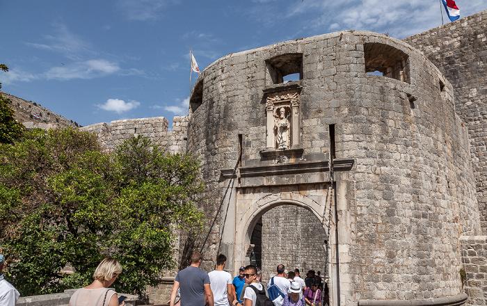 Dubrovnik Altstadt (Grad): Stadtmauer mit dem Pile-Tor