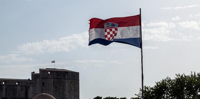 Dubrovnik Altstadt (Grad): Stadtmauer, Kroatische Flagge