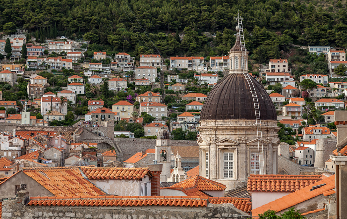 Blick von der Stadtmauer: Altstadt (Grad) mit der Kuppel der Kathedrale Mariä Himmelfahrt (Sveti Gospa) Dubrovnik