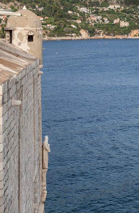 Dubrovnik Altstadt (Grad): Stadtmauer, Adriatisches Meer (Mittelmeer)