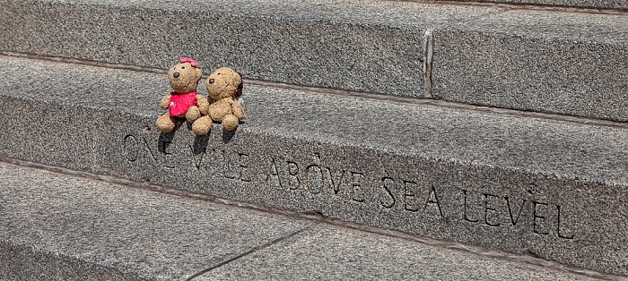 "Denver 15. Stufe am Westeingang des Colorado State Capitol Building - Teddine und Teddy ""One Mile Above Sea Level"""