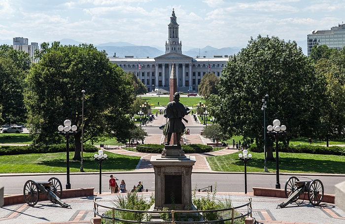 Denver Blick vom Colorado State Capitol Building City and County Building Civic Center Park Civil War Monument Lincoln Park