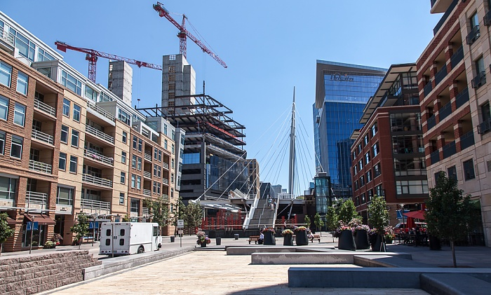 Downtown Denver: Riverfront Park Plaza, Millennium Bridge Denver