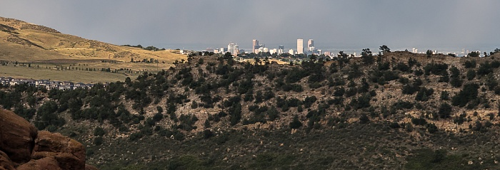 Blick vom Red Rocks Park in Richtung Denver Downtown Morrison