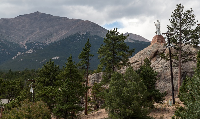 Allenspark Christus-Statue bei der Chapel on the Rock, Rocky Mountains