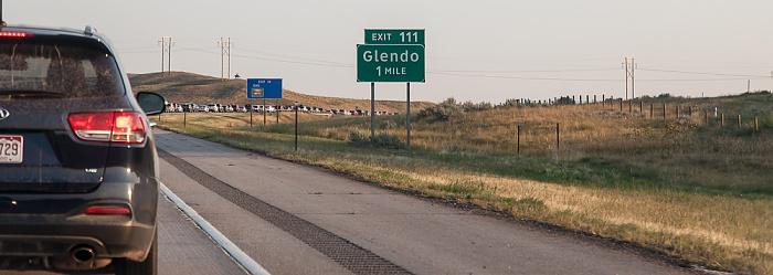 Wyoming Interstate 25 Cheyenne - Glendo: Eine Meile bis Glendo (Exit 111)