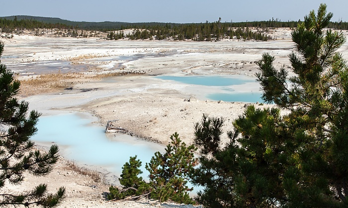 Yellowstone National Park Norris Geyser Basin: Porcelain Basin Colloidal Pool Sunday Geyser