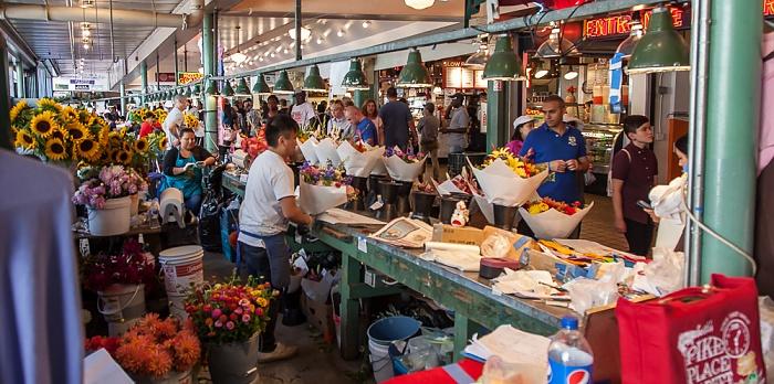Seattle Pike Place Market: Blumenverkaufsstände