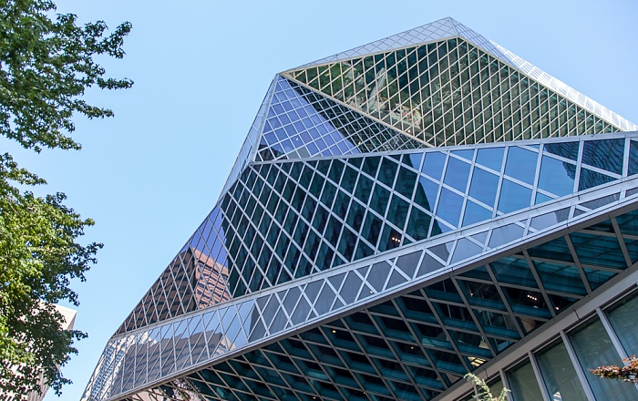 Downtown Seattle: Madison Street - Seattle Central Library