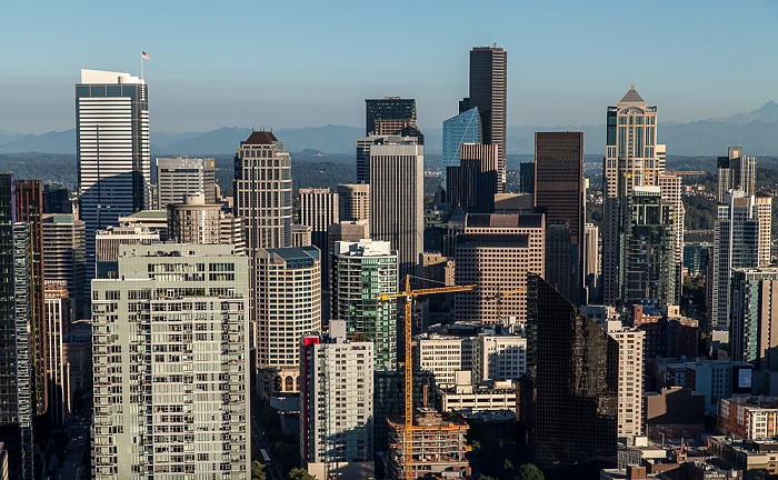 Blick von der Space Needle: Downtown Seattle