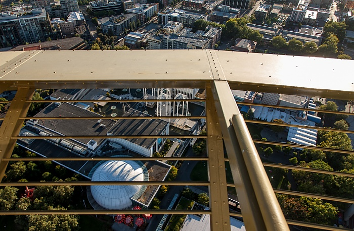 Blick von der Space Needle: Seattle Center mit dem Pacific Science Center