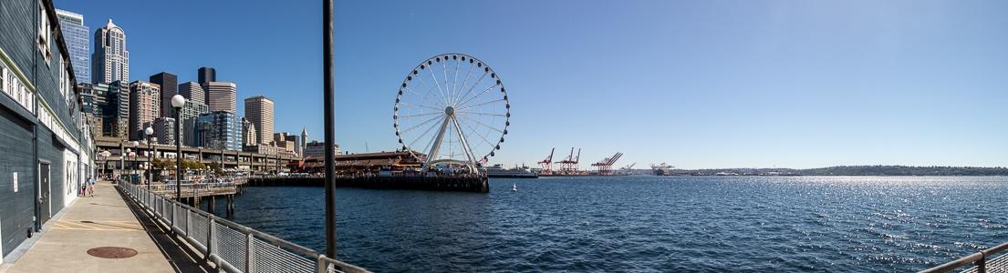 Central Waterfront: Pier 59 mit Seattle Aquarium, Pier 57 mit Seattle Great Wheel, Elliott Bay (Puget Sound) Seattle