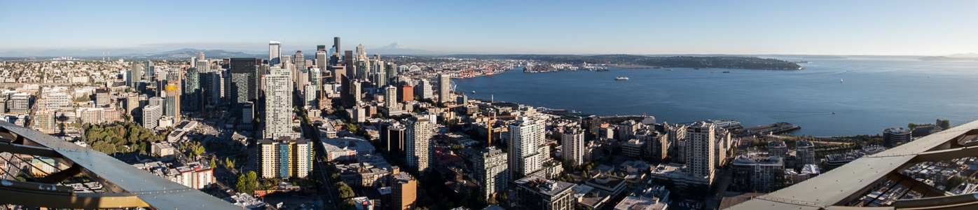 Seattle Blick von der Space Needle Belltown Capitol Hill Downtown Seattle Elliott Bay Puget Sound
