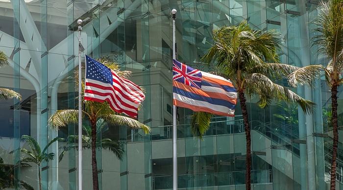 Flaggen der Vereinigten Staaten von Amerika und Hawaii Honolulu