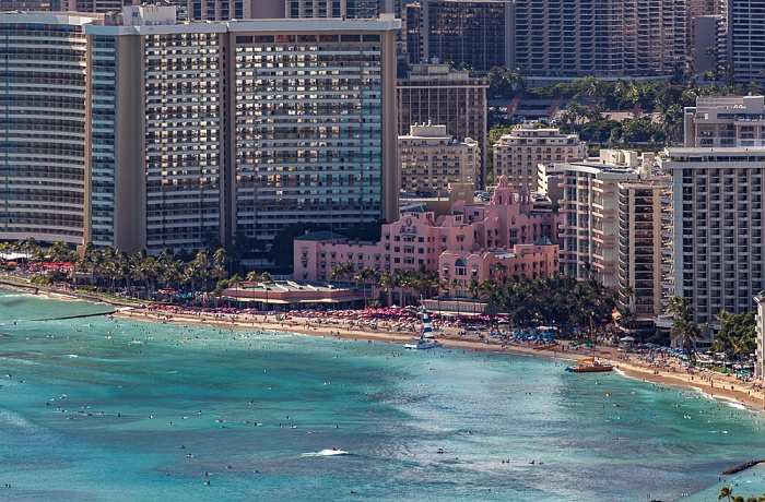 Honolulu Blick vom Diamond Head: Pazifik, Waikiki Beach und Waikiki Moana Surfrider Hotel Outrigger Waikiki on the Beach Royal Hawaiian Hotel Sheraton Waikiki