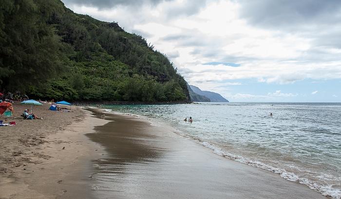 Hanalei Ha'ena State Park: Ke'e Beach. Pazifik, Na Pali Coast