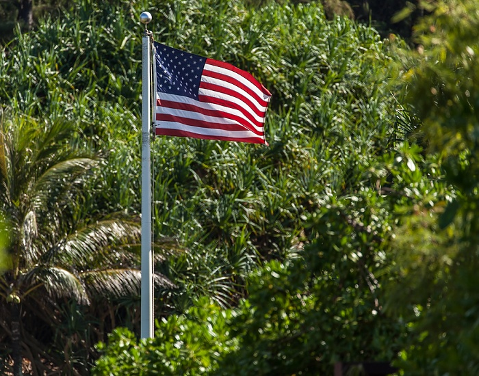 US-amerikanische Flagge Kilauea Point National Wildlife Refuge