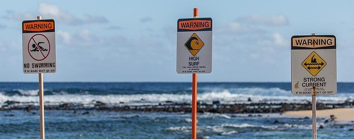 Koloa Poipu Beach Park: Warnschilder