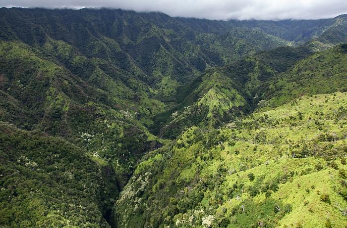 Blick aus dem Hubschrauber: Paliemo Valley Kauai