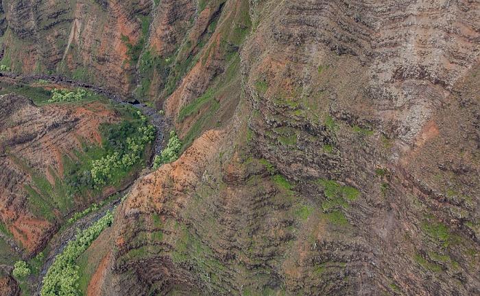 Kauai Blick aus dem Hubschrauber: Waimea Canyon - Wahane Valley Luftbild aerial photo
