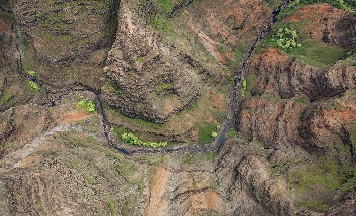 Blick aus dem Hubschrauber: Waimea Canyon Kauai