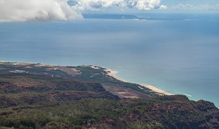 Kauai Blick aus dem Hubschrauber: Pazifik und Niihau Polihale State Park Luftbild aerial photo