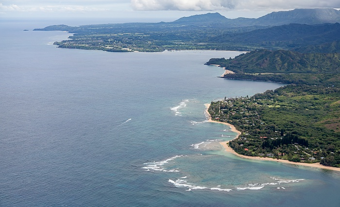 Kauai Blick aus dem Hubschrauber: Pazifik Halehomaha Hanalei Bay Kepuhi Beach Kilauea Point National Wildlife Refuge Wainiha Bay Luftbild aerial photo
