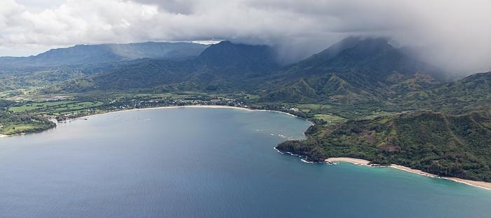 Kauai Blick aus dem Hubschrauber: Pazifik, Hanalei Bay Lumahai Beach Makahoa Point Luftbild aerial photo