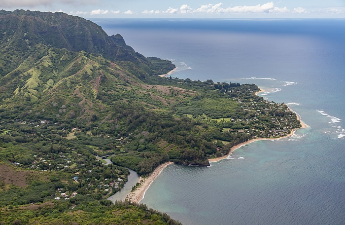 Kauai Blick aus dem Hubschrauber: Pazifik Halehomaha Kepuhi Beach Wainiha Bay Wainiha Beach Wainiha River Luftbild aerial photo