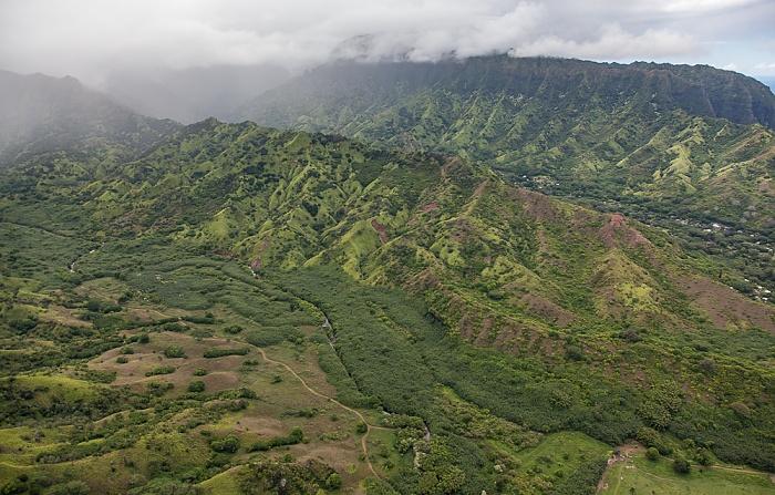 Blick aus dem Hubschrauber: Lumahai Valley Kauai