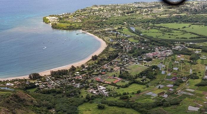 Kauai Blick aus dem Hubschrauber: Hanalei, Hanalei Bay, Pazifik Luftbild aerial photo