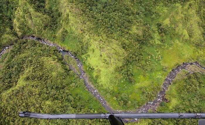 Blick aus dem Hubschrauber: Hanalei Valley Kauai