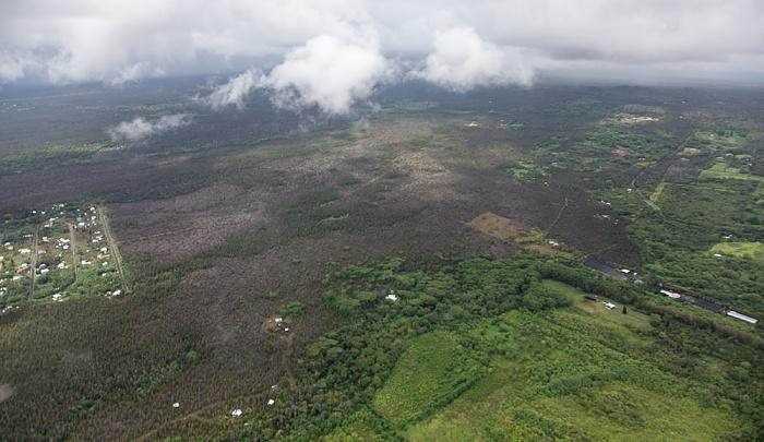 Big Island Blick aus dem Hubschrauber Kalapana Sea View Estates Luftbild aerial photo