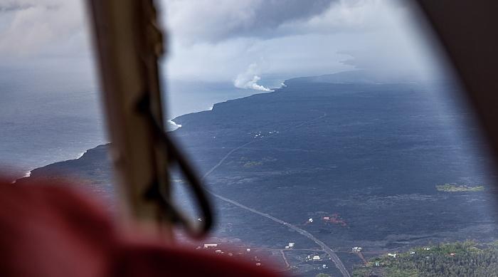 Big Island Blick aus dem Hubschrauber: Kilauea-Lavafelder, Pazifik Luftbild aerial photo
