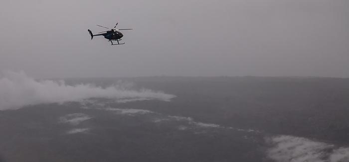 Big Island Blick aus dem Hubschrauber: Hubschrauber über den Kilauea-Lavafeldern Luftbild aerial photo