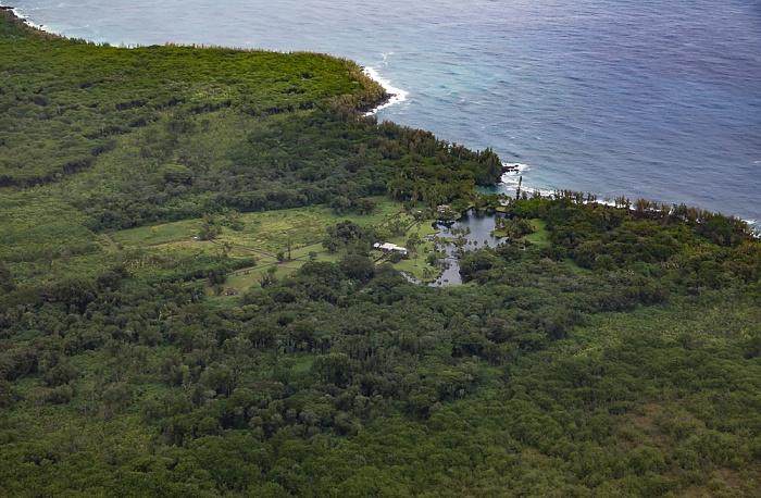 Big Island Blick aus dem Hubschrauber: W.H. Shipman Estate, Haena Beach und Pazifik Luftbild aerial photo