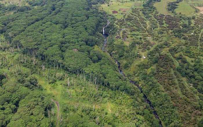 Big Island Blick aus dem Hubschrauber: Waiau Stream Kulaniapia Falls Luftbild aerial photo