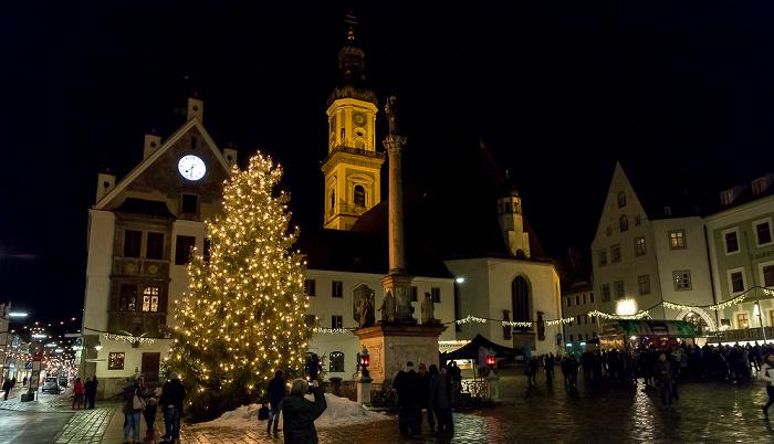 Freising Altstadt: Marienplatz mit Mariensäule Alte Hauptwache Obere Hauptstraße Rathaus Stadtpfarrkirche St. Georg Stauberhaus