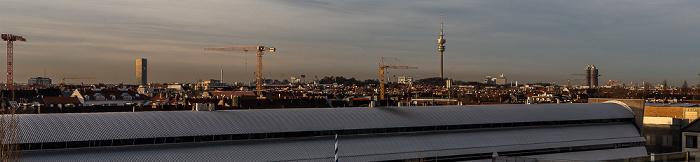 München Blick von der Technischen Universität (Arcisstraße): Uptown-Hochhaus, Olympiapark mit Olympiastadion und Olympiaturm, BMW-Hochhaus Technische Universität