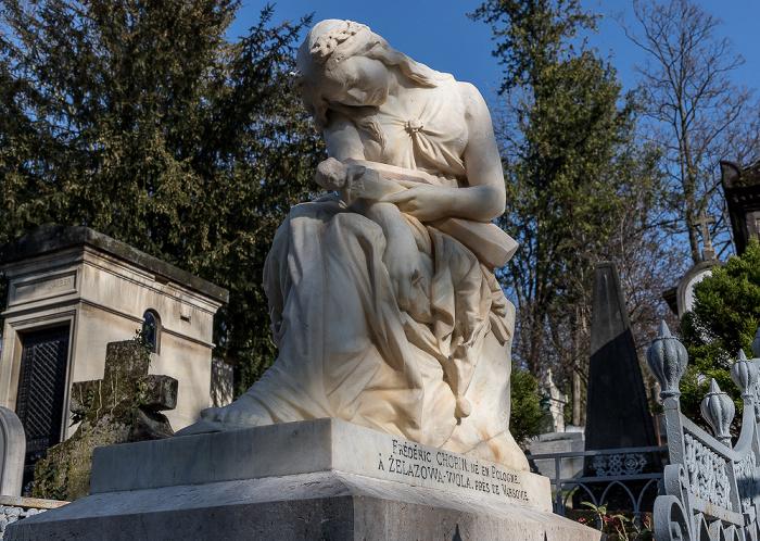 Cimetière du Père-Lachaise: Grab von Frédéric Chopin (1810-1849) mit der Muse Euterpe von Auguste Clésinger Paris
