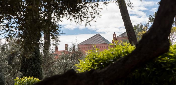 Marrakesch Blick aus dem Jardin Arsat Moulay Abdessalam: Royal Mansour Hotel